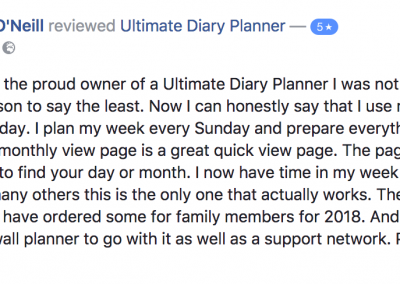 Anita ONeill Ultimate Diary Planner 2017 Testimonial