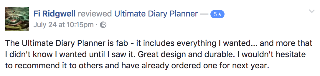 Fi Ridgwell Ultimate Diary Planner 2017 Testimonial