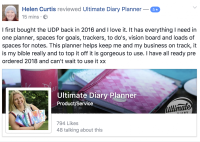 Helen Curtis Ultimate Diary Planner 2017 Testimonial
