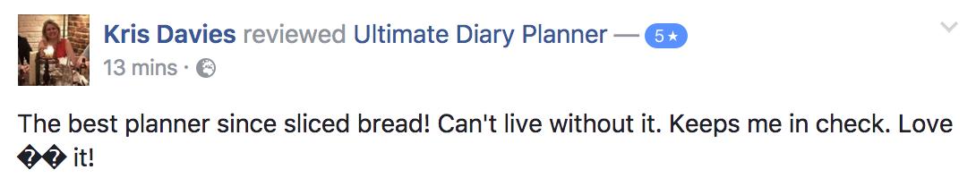 Kris Davies Ultimate Diary Planner 2017 Testimonial