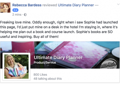 Rebecca Bardess Ultimate Diary Planner 2017 Testimonial