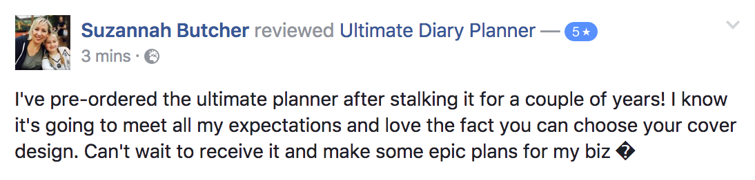 Suzannah Butcher Ultimate Diary Planner 2017 Testimonial