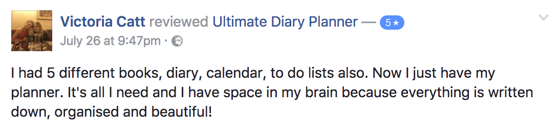 Victoria Catt Ultimate Diary Planner 2017 Testimonial