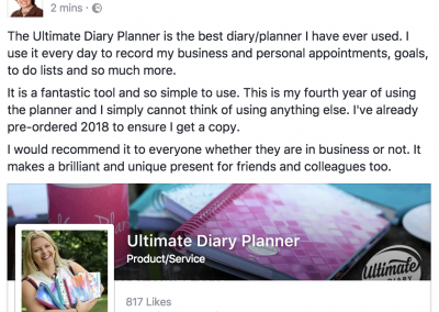 Heather Garrod Ultimate Diary Planner 2017 Testimonial