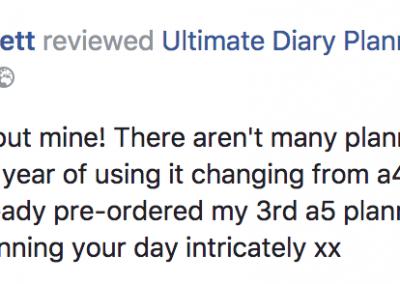 Jade Foster-Jerrett Ultimate Diary Planner 2017 Testimonial