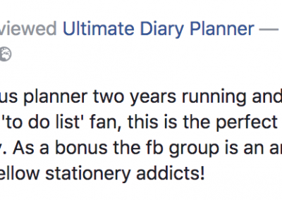 Jane Aldridge Ultimate Diary Planner 2017 Testimonial