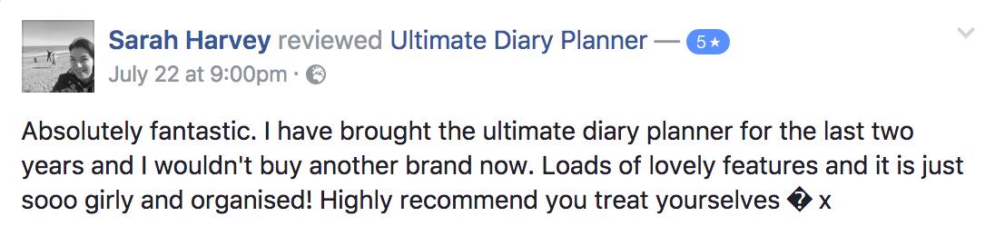 Sarah Harvey Ultimate Diary Planner 2017 Testimonial