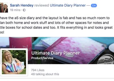 Sarah Hendey Ultimate Diary Planner 2017 Testimonial